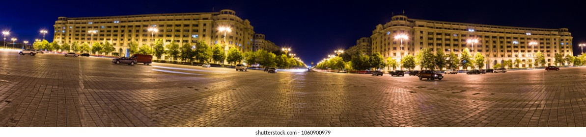 Constitution square panorama in Bucharest Romania, by night