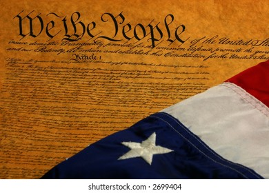 Constitution and straight diagonal flag with one star showing