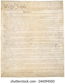 Constitution of the United States of America. First of four pages of the National Archives copy created in the Constitutional Convention in 1787.