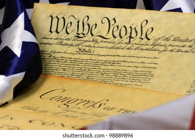 Constitution of the United States and American Flag, We The People�