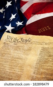 Constitution: USA Flag and Constitution with Bible