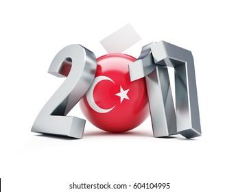 Constitutional referendum in Turkey 2017 on a white background 3D illustration