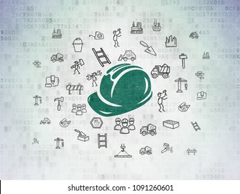 Constructing concept: Painted green Safety Helmet icon on Digital Data Paper background with  Hand Drawn Construction Icons