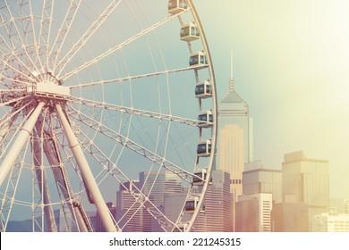 A Constructing Ferris Wheel in Hong Kong