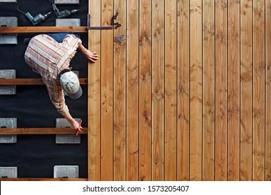 Constructing a Wooden Flooring of a Terrace