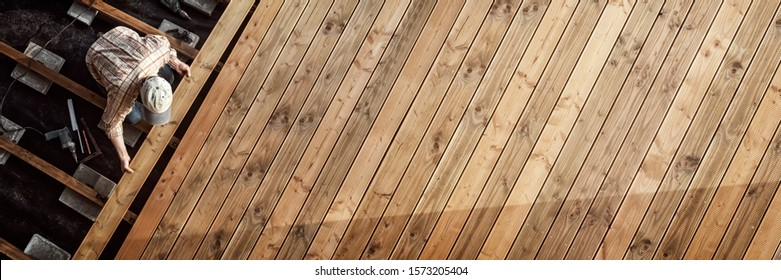 Constructing a Wooden Flooring of a Terrace, Panorama