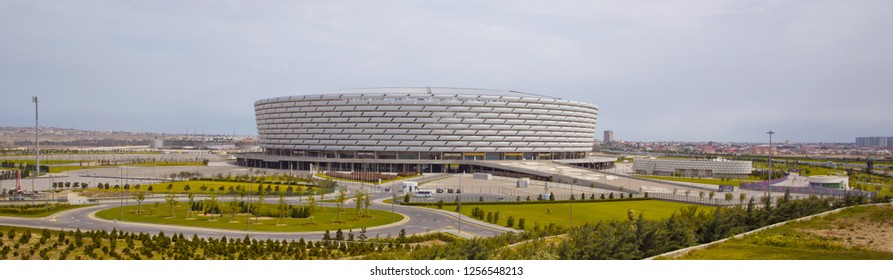 Construction of the 225,000-square-meter Stadium on a 650,000-square-meter site was completed in February 2015. The six-story, 65.7 meter structure near Boyukshor Lake, Baku, Azerbaijan