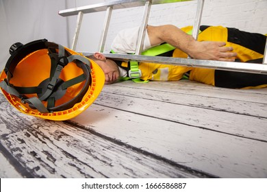 Construction accident. Fall from a ladder.