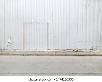 Construction area with door and metal background