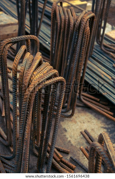 Construction background. Rebar reinforcement for concrete work on a construction site. Steel rods. . Steel rebar for reinforcement concrete for pouring the concrete base of the building.