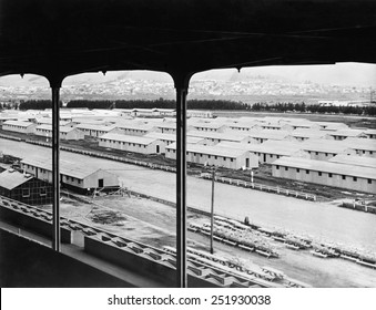Construction of barracks for Japanese Americans interned during World War 2. Temporary assembly center under construction in the Tanforan Racetrack in San Bruno, California. Ca. April 1944.