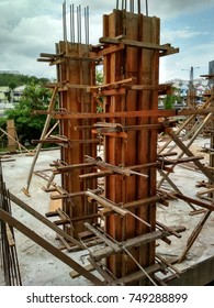 construction of the beam in progress