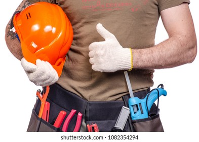Construction belt on a man tool belt builder on a white background isolation