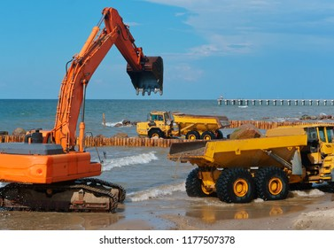 construction of breakwaters at sea, construction equipment in the Baltic sea