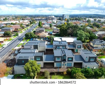 Construction of Brick Veneer town houses in Melbourne Victoria Australian Suburbia