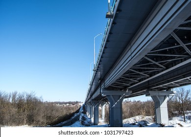 The construction of the bridge from below