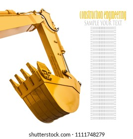 construction bucket on tractor, excavator, grader isolated on white background. Text delete