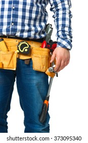 Construction builder tools and belt midsection isolated on white background.