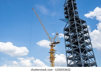 Construction of building a beautiful sky background. Steel Structures. Construction work.