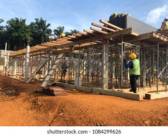 Construction building civil work to built club house support with scalfolding and timber