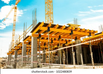 Construction of building. Formwork for constructing of concrete slab at construction site
