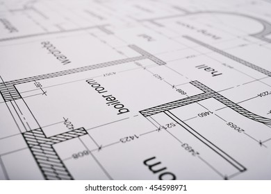 Construction of the building layout, building drawing on paper