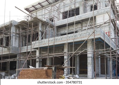 Construction of building of new three-story.