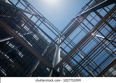 Construction of building on sky background