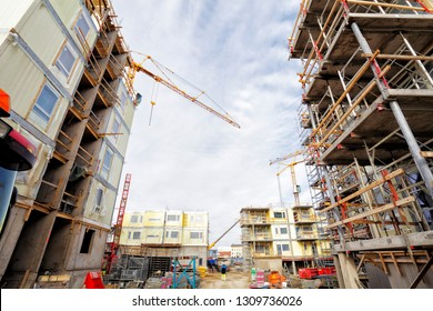 construction and building site, scaffoldnings and cranes