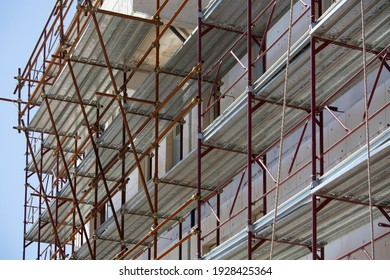 Construction of a building using scaffolding