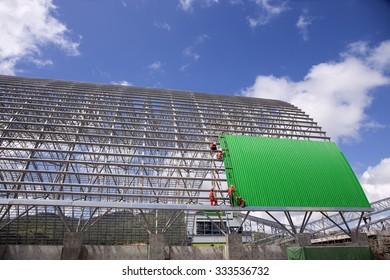 Construction of a bulk coal storage dome