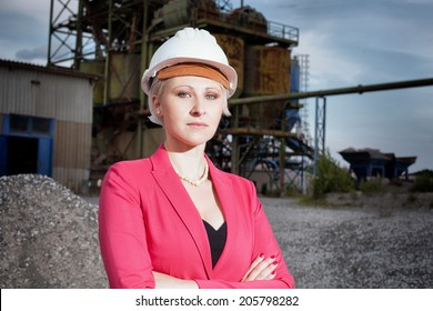 Construction business woman on working field
