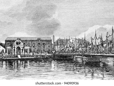 """Construction of the cargo port in Lubava (Poland). Engraving by Shyubler. Published in magazine """"Niva"""", publishing house A.F. Marx, St. Petersburg, Russia, 1893"""