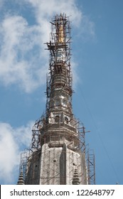 construction of chedi at tiger cave temple in krabi, thailand