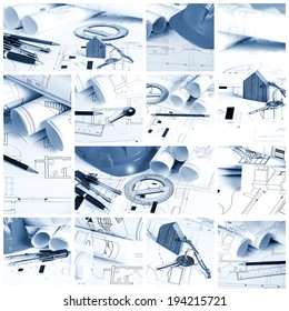 Construction collage concept with blueprints and architect tools