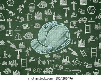 Construction concept: Chalk Blue Safety Helmet icon on School board background with  Hand Drawn Building Icons, School Board