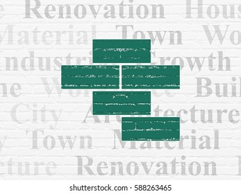 Construction concept: Painted green Bricks icon on White Brick wall background with  Tag Cloud