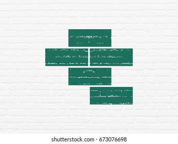 Construction concept: Painted green Bricks icon on White Brick wall background