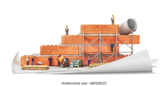 Construction concept. Part of brick wall in construction process with construction tools and builders on a blueprints. 3d illustration