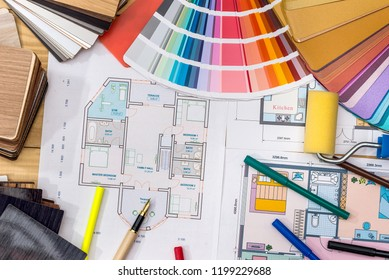 Construction concept: plan , color samples , roller