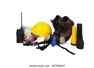 Construction  concept ,Safety standard set on white background  , Security functions in the refinery. Always wear safety equipment and personal protective equipment .