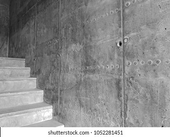 Construction of concrete stairs under construction works