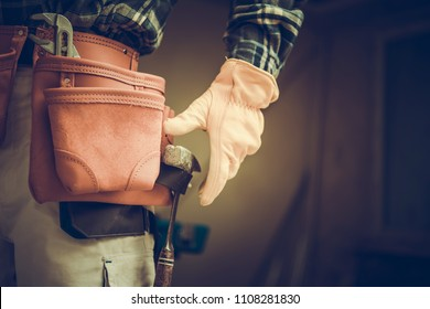 Construction Contractor Belt with Tools. Worker Ready For the Remodeling Job