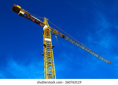Construction crane against a blue sky
