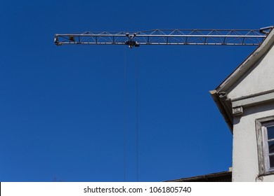 construction crane details at easter springtime blue sunny sky day in south germany historical city