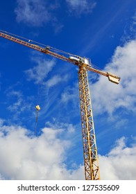 construction crane in front of blue sky