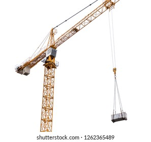 Construction crane lifting cargo isolated on withe background