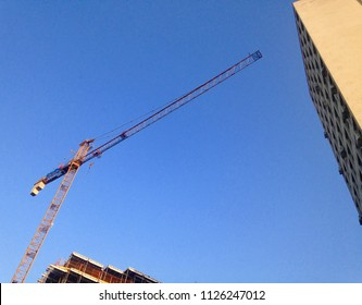 Construction crane in urban area