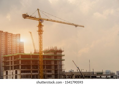 Construction crane,Building crane and buildings under construction,Heavy construction industry.