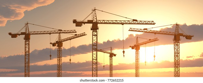 Construction cranes at sunset Computer generated 3D illustration